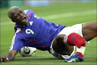 Djibril Cisse suffered a comminuted fracture of the tibia and fracture of the fibula